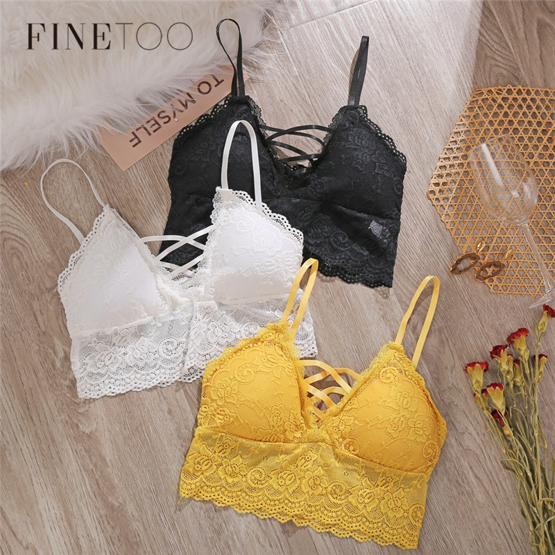 Sexy Padded Lace Bralette Top For Woman Sexy Women Underwear Bra Wire Free Lace Thin Seamless Adjusted Brassiere Lingerie 2020