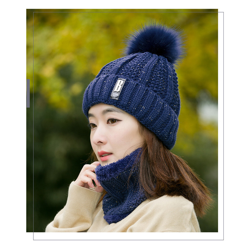 Fashion Winter Women's Hat And Scarf Set Of Hat And Scarf For Women Girl Warm Beanies Hat For Girl Ring Scarf Pompoms Winter Hat