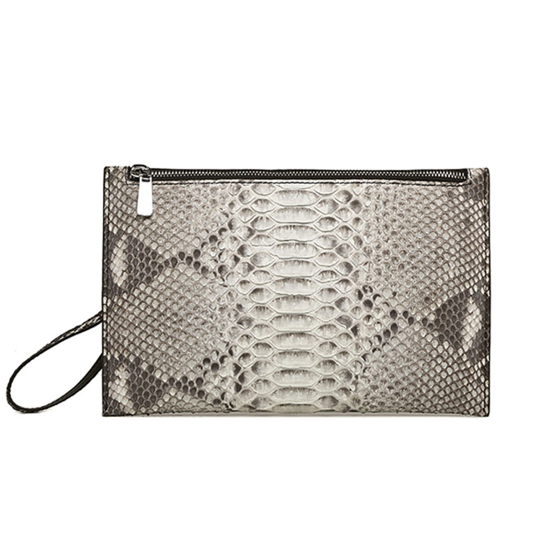 Genuine Python Skin Luxury Handbag Clutch Envelope Men Business Phone Pouch Multi-Function Long Zipper Wallet Card Holder Purse