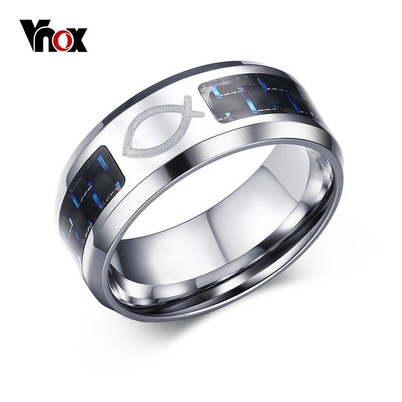 Vnox Drop Verschiffen 8MM Edelstahl Jesus Christian Fisch Ringe für Männer Frauen Religiöse Glaube Ring mit Blau Carbon faser