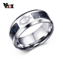 Vnox-anillos con forma de pescado para hombres y mujeres, anillos con forma de pescado, de acero inoxidable, religioso, con fibra de carbono azul, 8MM, envío directo