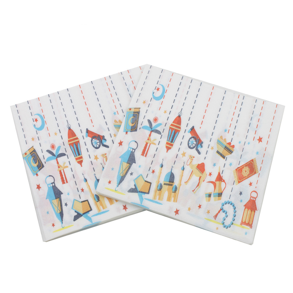 [Currently Available] Color Printed Napkin Lamp Pattern Ramadan Foreign Trade Export Paper Towel Napkin Tissue Paper