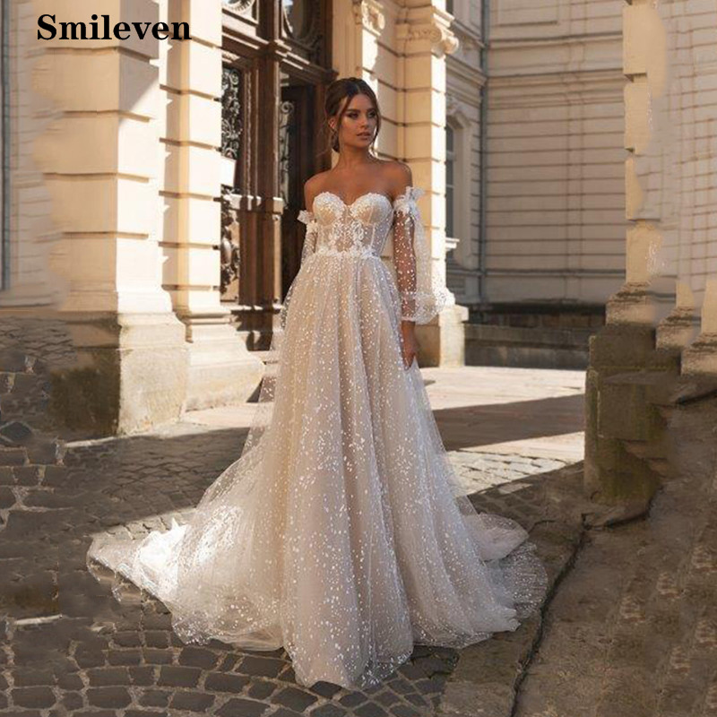 Smileven Boho Wedding Dress Puff Sleeve Sweetheart Neck Robe De Mariee Lace Bridal Dresses Wedding Dress For Girls