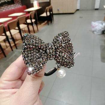 Fashion Crystal Bow Elastic Hair Band Luxury Pearl Rhinestone Jewelry Hair Rubber Bands Rope Headbands Women Hair Accessories 5 pcs bow hair band hair rope handmade women s hair accessories rubber band little fresh style