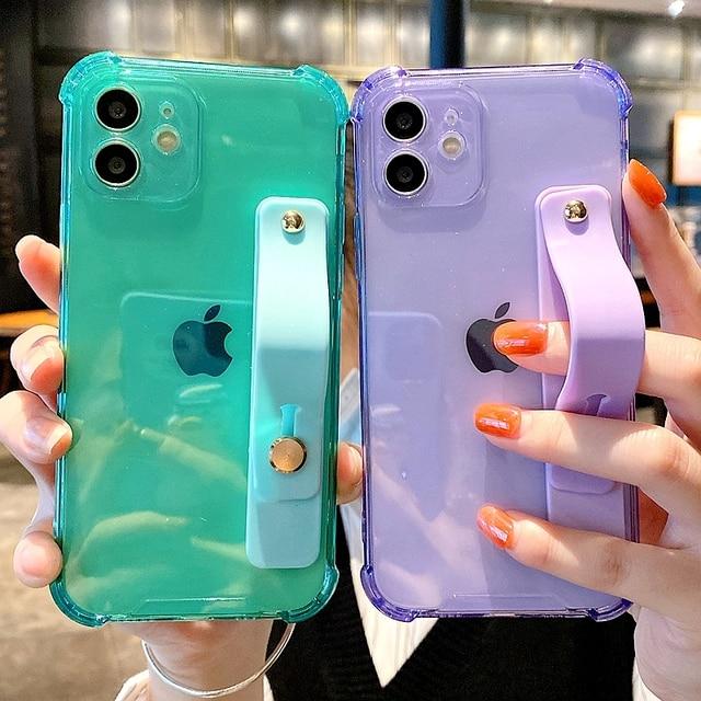 Soft Wrist Strap Phone Case For iPhone 11 12 Pro Max X XR Xs Max 7 8 Plus SE 2020 Mini Kickstand Transparent Bumper Back Cover