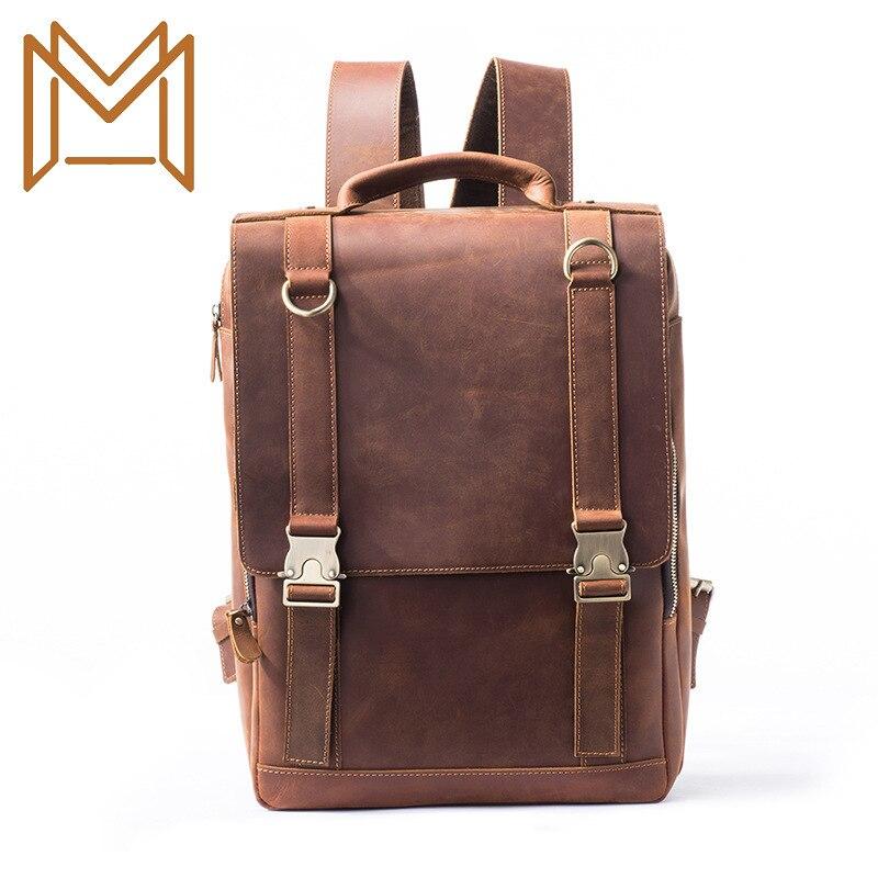 Man Both Shoulders Package Male Outdoors Travel Backpack Waterproof Crazy Horsehide Male Package Both Shoulders Backpack