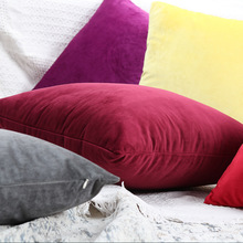 Nordic Luxury Blue Velvet Cushion Green Yellow Pink Gray White Black Home Decorative Sofa Solid Color Throw Pillows