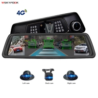 10 IPS Touch Screen 4G Android 5.1 Car DVR With 4CH Cameras Lens 2G RAM+32G ROM FHD 1080P Rearview Mirror DVR ADAS