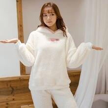 Милый кролик с капюшоном плюшевые женские дома тепловой пижамный