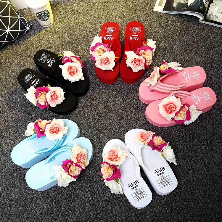 Summer Beach Vacation Handmade Slippers Flowers High heeled Flip flops Ladies XL Flip flops Woman Shoes in Slippers from Shoes