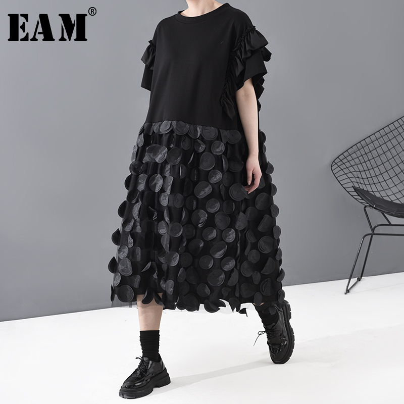 [EAM] Women Black Dot Split Ruffles Big Size Dress New Round Neck Short Sleeve Loose Fit Fashion Tide Spring Summer 2020 1T812