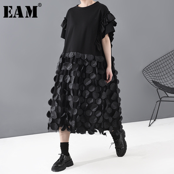 [EAM] Women Black Dot Split Ruffles Big Size Dress New Round Neck Short Sleeve Loose Fit Fashion Tide Spring Summer 2020 1T812