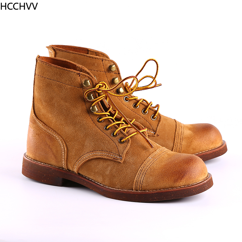 New Spring Autumn Vintage Tooling Dark Wings Male Motorcycle Boots Quality Cow Leather Round Toe Red Men Casual Ankle Boots - 5
