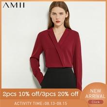 AMII Minimalism Autumn OLstyle Women Shirt Causal Solid Chif
