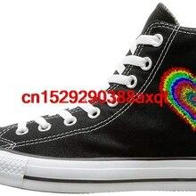 Парусиновая обувь Tye Dye Heart модные высокие кроссовки на шнуровке для мужчин и женщин