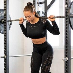 Image 2 - Vrouwen Sportkleding Pak Naadloze Gym Kleding Vrouwen Gym Yoga Set Fitness Leggings + Cropped Shirts Workout Sets Trainingspak Outfits