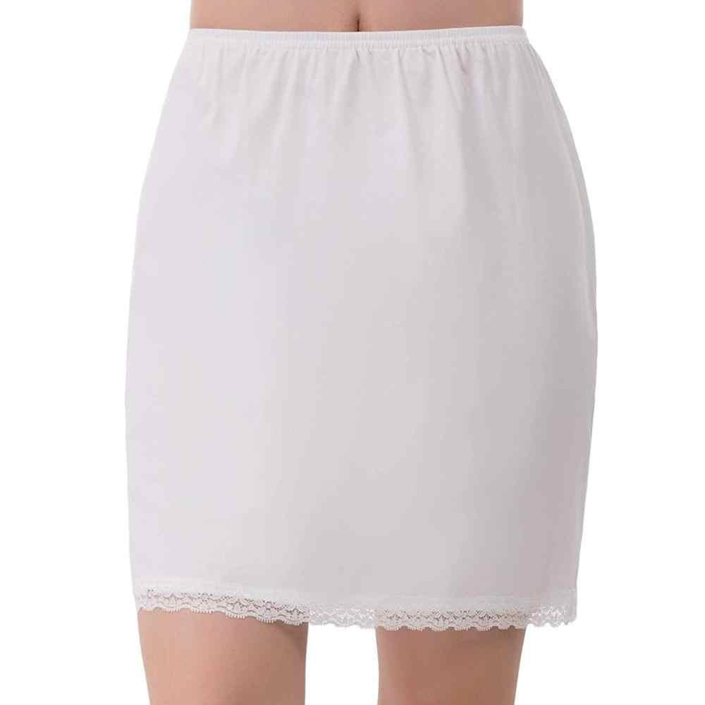 2020 女性弾性ウエストハーフスリップペチコートスカートアンダー女性クリノリンミルクシルク白レースの通勤オフィスの女性のスカート