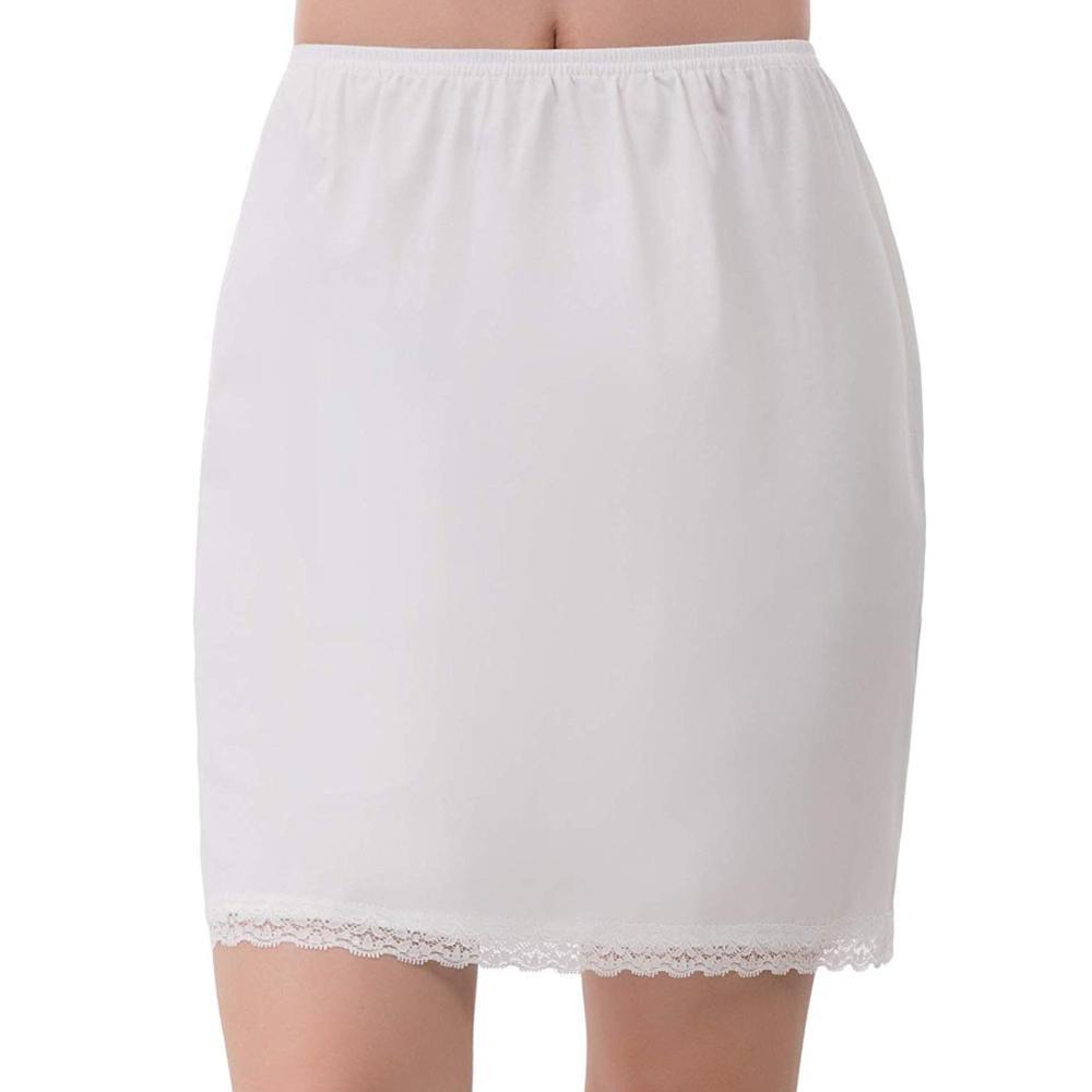 Women Elastic Waist Half Slip Petticoat Skirts Underskirt Lady Crinoline Milk Silk White Lace Commuter Office Ladies Mini Skirt