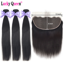Lucky Queen Brazilian Straight Hair Bundles With Frontal Remy Human Hai