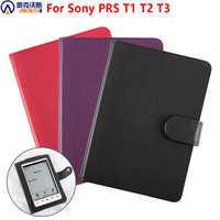 Funda de cuero PU para sony Prs-T1/T2/T3 e-books folio funda para sony e-lector + película de pantalla de regalo