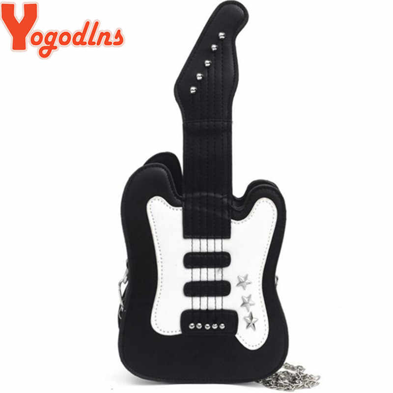 Yogodlns Gitar Kreatif Berbentuk Tas Kasual Keren Chain Tas Bahu Bintang Kecil Keling Kepribadian Messenger Tas untuk Wanita Dompet