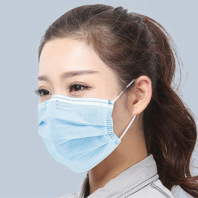 20pcs Face Mask 3-Layer Non-woven Disposable Mouth Mask Breathable Proof Flu Bacteria Hygiene Face Mask Windproof Anti Dust 2