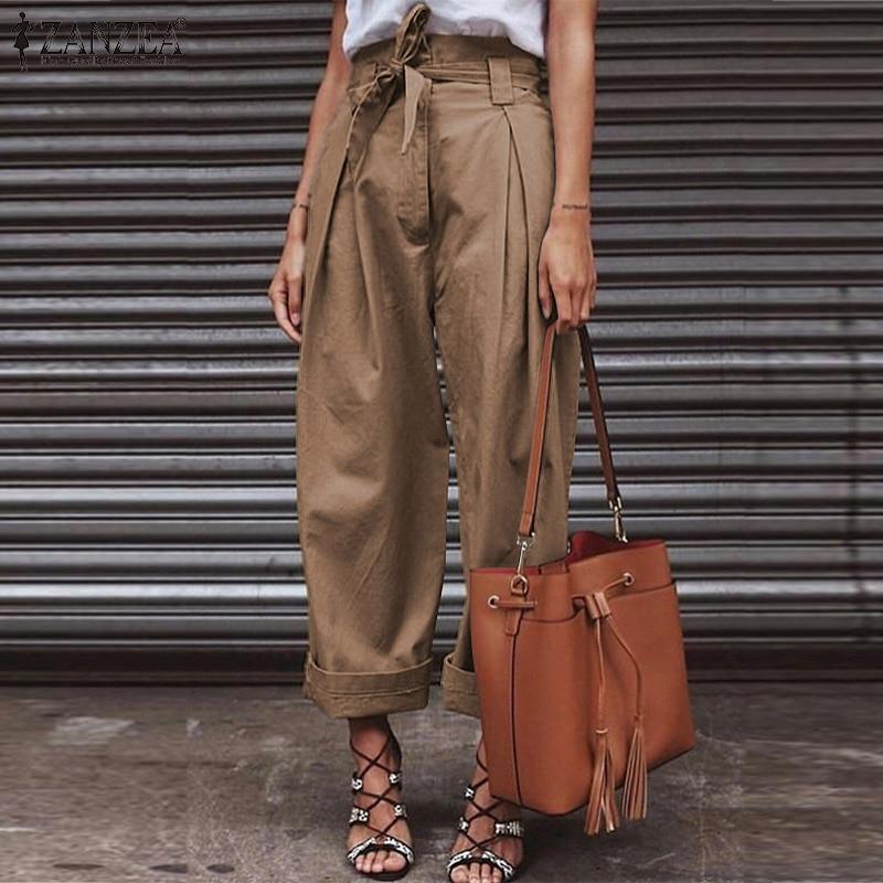 Women High Waist Belted   Pants   2019 Fashion Ladies Loose Solid   Wide     Leg     Pants   Casual Long Trousers Zip Up Paper Bag Streetwear