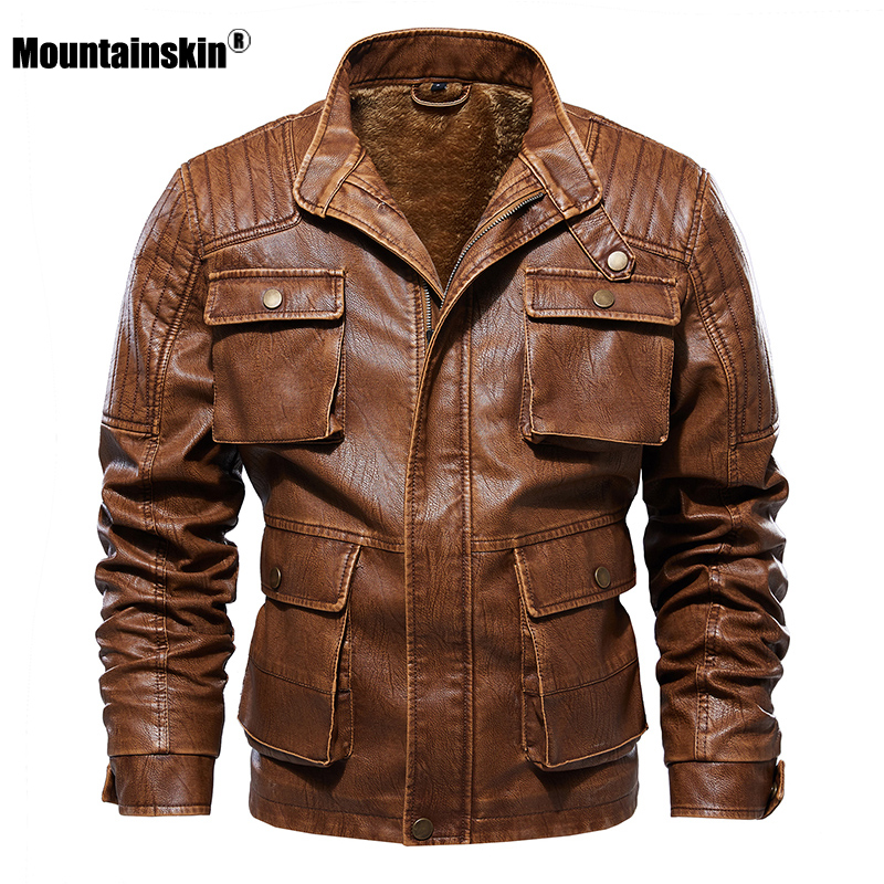 Mountainskin 2020 New Men's Winter Autumn Leather Jacket Men Casual Motorcycle Fashion Multi-pocket PU Coat Brand Clothing SA770