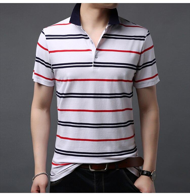 Camisa polo listrado masculina algodão respirável excelente