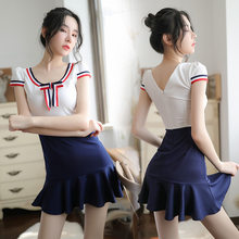 sexy school uniform japanese underwear stripe dress adult erotic student uniform couple sex play lingerie female student dress(China)