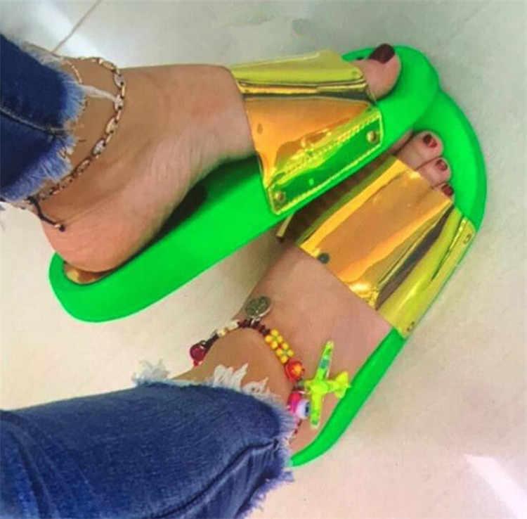 Bling yaz kadın terlik yeni bayanlar açık toe konfor kayma düz eğlence sandalet kadın açık plaj ayakkabısı Zapatillas