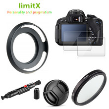 UV Filter + Lens Hood + Cap + Glass Screen Protector for Fujifilm X T100 X T30 X A20 X 5 X A7 XT100 XT30 XA20 XA7 15 45mm lens