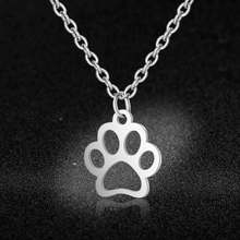 AAAAA Quality 100% Stainless Steel Dog Cat Paw Charm Necklace for Women High Polish Wholesale Super Fashion Charm Jewelry(China)
