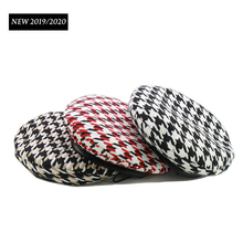 NEW Trend Female Classic Plaid Berets Brand Style Fall Winter Paris Hat Red Houndstooth Beret Adjustable 3 Colors Wholesale
