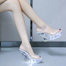 Mulheres presilha salto alto transparente, sapatos femininos de festa salto alto cunha