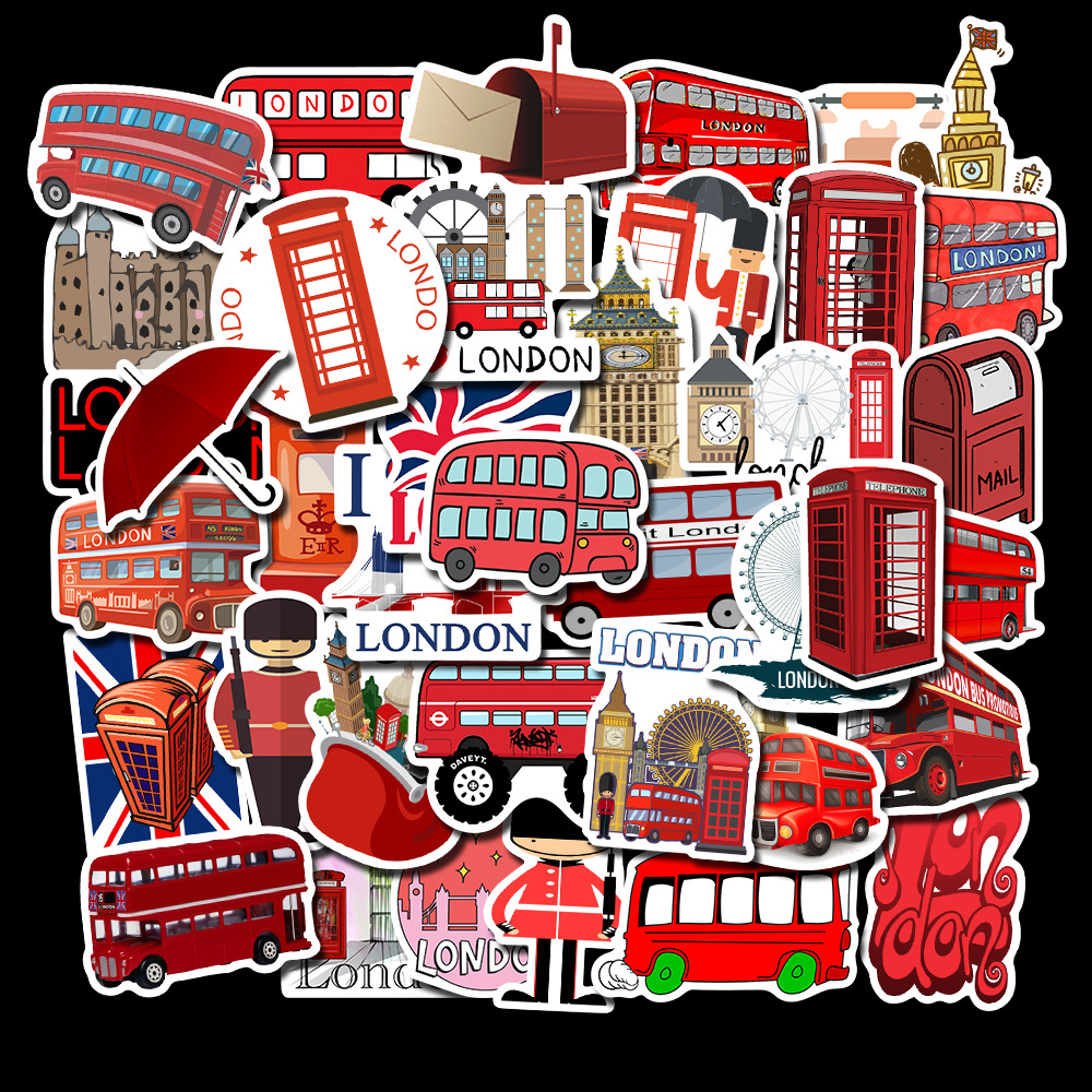 50pcs Classic London Red Bus Telephone Booth Stickers For Laptop Luggage Skateboard Bicycle Motorcycle Decals Graffiti Sticker