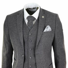 Серый мужской шерстяной твид Peaky Blinders костюм 3 шт Аутентичные 1920s классические
