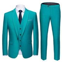 (Блейзер + брюки + жилет) 2019 высококачественный индивидуальный деловой мужской костюм на выпускной мужской повседневный свадебный смокинг м...