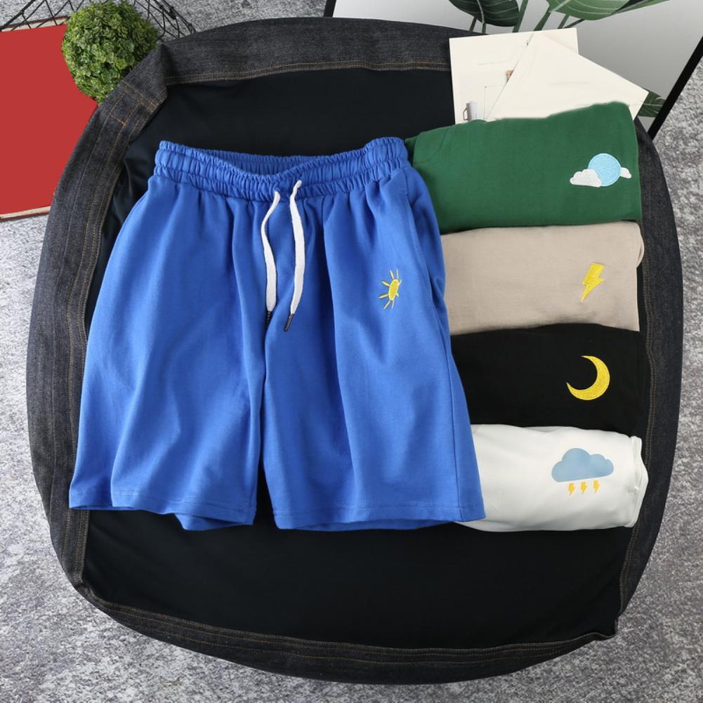 M-3XL Summer Running Shorts Men Sun Moon Quick Drying Drawstring Elastic Fifth Pants Board Sports Gym Shorts Pants Clothing
