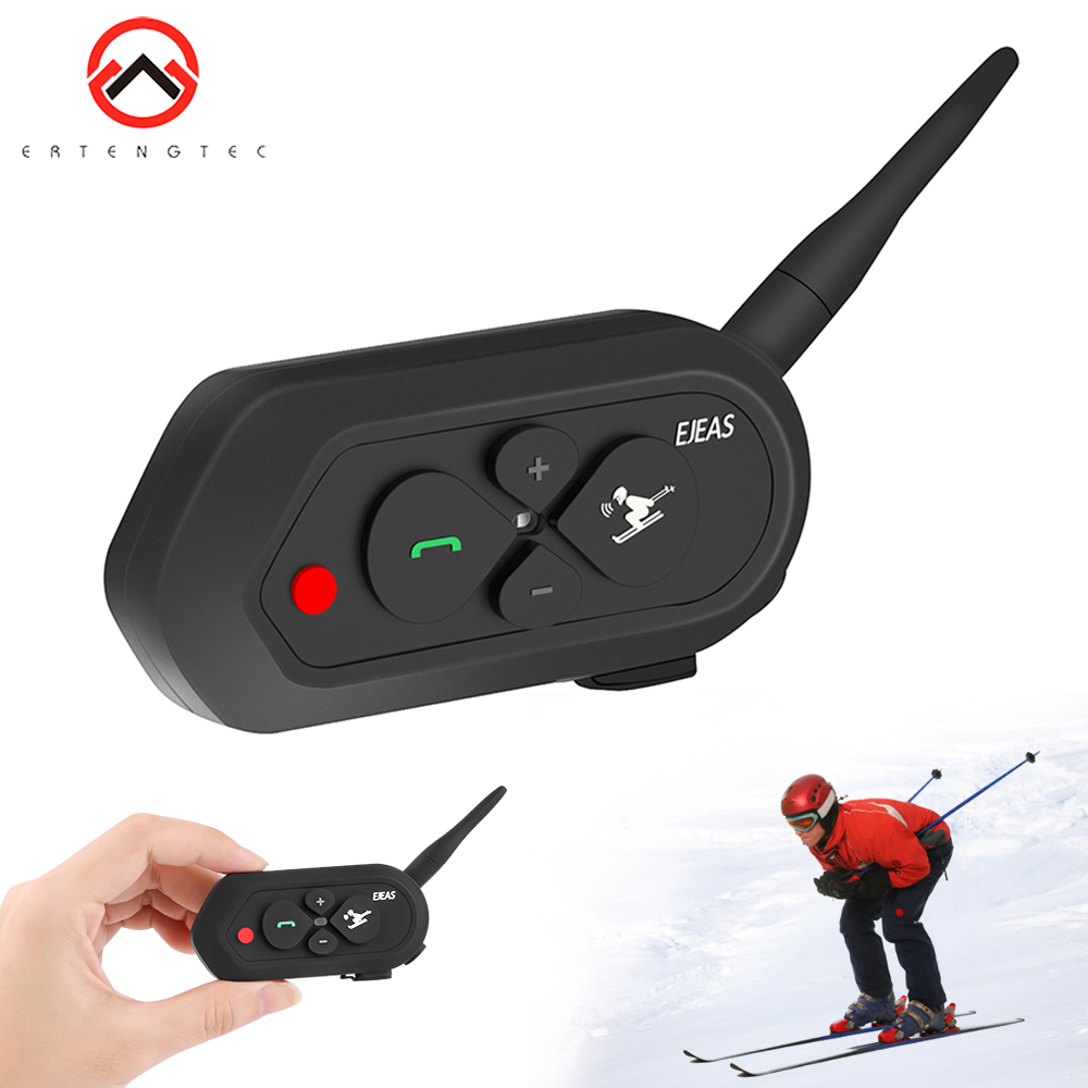 SKI Intercom For 2 Skier 1200m Wireless Intercomunicador Moto Waterproof Realtime Talking BT Interphone 500mAh Audio Intercom