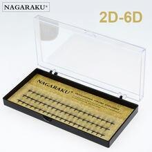 NAGARAKU-extensiones de pestañas, 2D-6D, volumen ruso, prefabricadas, suaves y naturales, cilios de alta calidad 0,07c