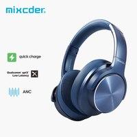 Mixcder E9 PRO aptX LL cuffie Wireless Bluetooth cuffie con cancellazione attiva del rumore ricarica rapida USB con microfono cuffie blu