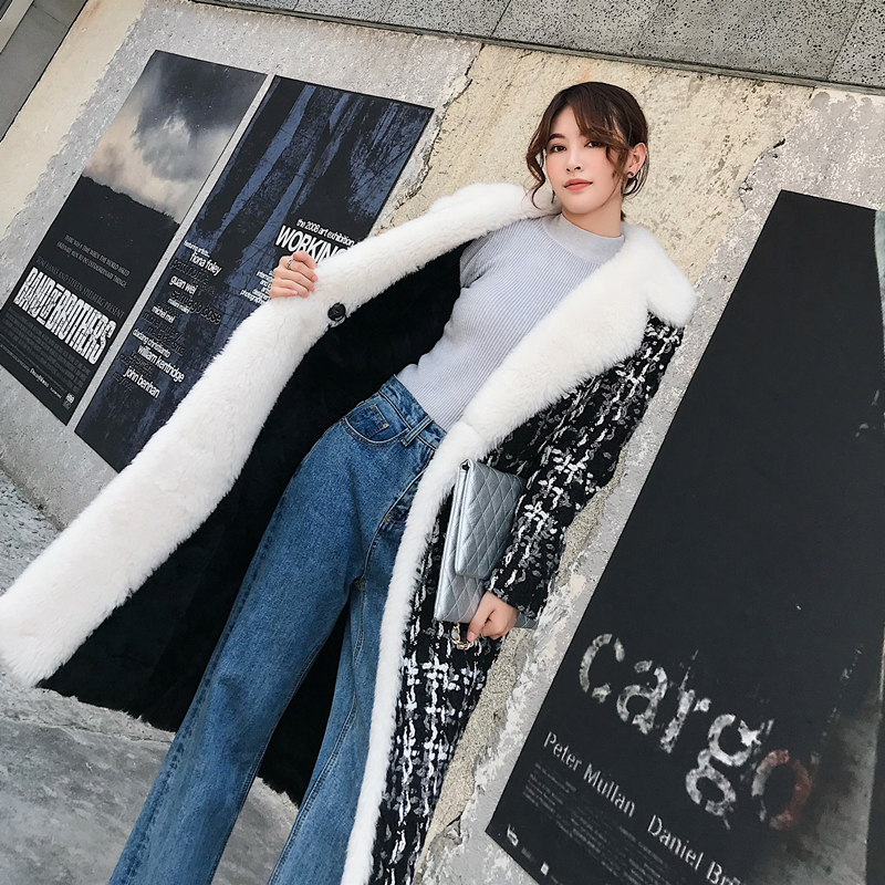 Winter Female Jacket Real Rabbit Fur Coat Women Clothes 2019 Korean Thick Wool Liner Jackets With Wool Fur Collar CF08