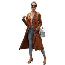 Women Long Wind Coat Ladies Thin Windbreaker Slim Cardigan Trench Coats