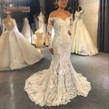 Kapalı omuz uzun dantel kollu mermaid düğün elbisesi 2020 özel sipariş gelin elbise