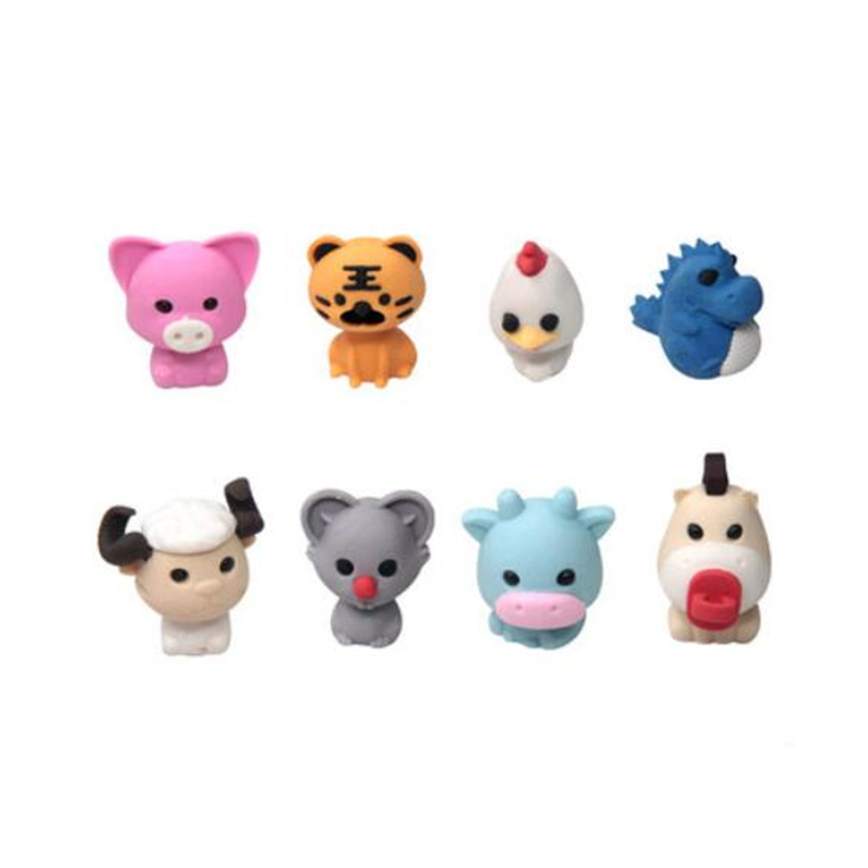 8 Hero Animal Erasers From Animal Sign School Promotion Pencil Eraser European Shop Dispalyed Stationery Eraser Free Shipping