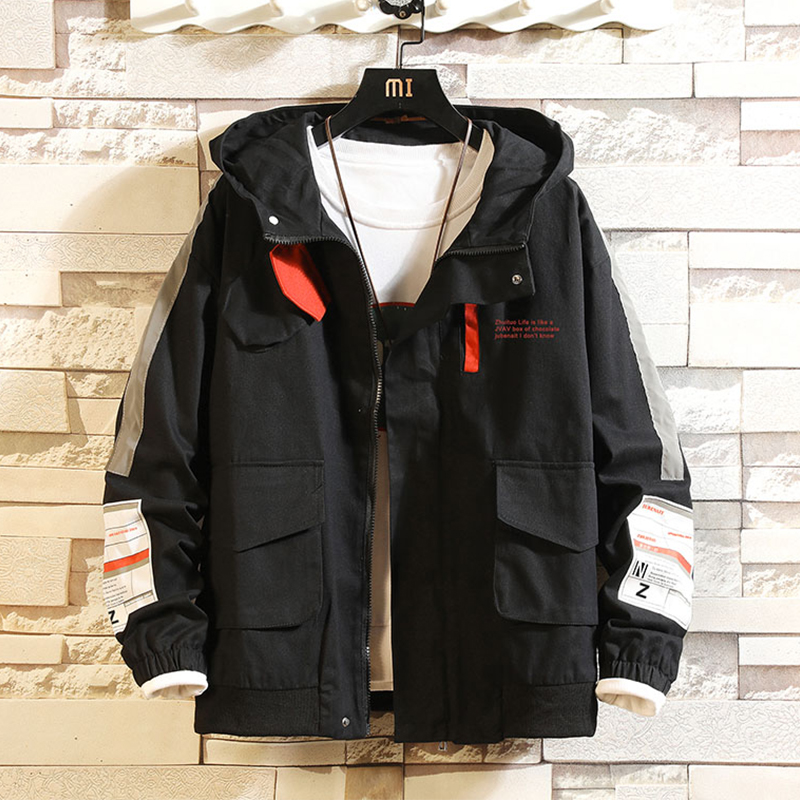 Men Casual  Jacket Overalls Hooded Black Windbreak Letter Print Rib Sleeve Men Clothes Spring Coats College Jacket Young,ZA327