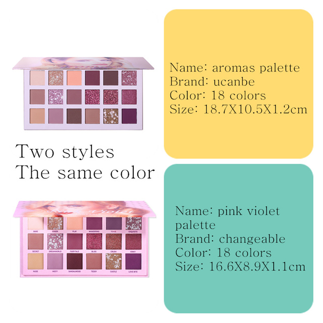 UCANBE Aromas Nude Eye Shadow Palette 18 Color Eyeshadow Shimmer Matte Glitter Powder Waterproof Paleta De Sombra Makeup Pallete 4