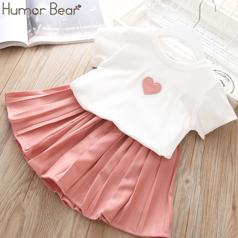 Humor Bear Girls Clothing Set 2020 Korean Summer New Ice Cream Bow Top T-shirt+Pants Kids Suit Toddler Baby Children's Clothes 19