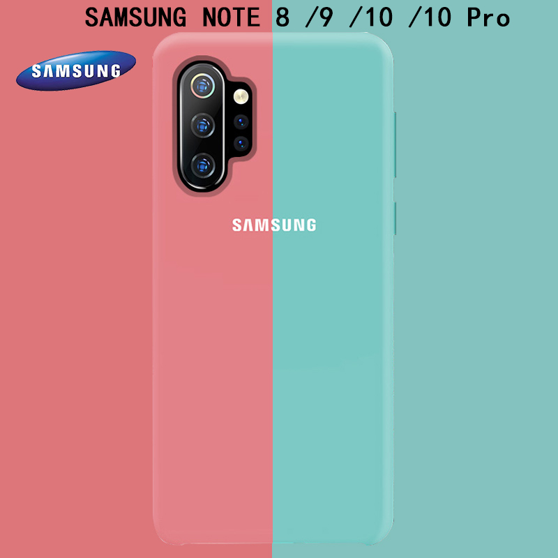 SAMSUNG Note 8 9 10 Back Case Cover Soft Liquid Silicon Samsung Galaxy Note 10 Pro Phone Case Shockproof Full Protectiver Cases